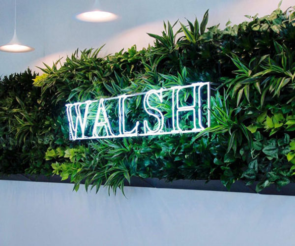 Branding and logos can be incorporated into living walls.